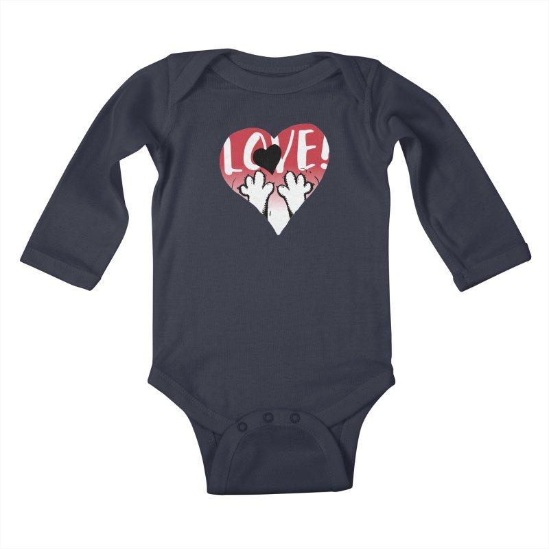Love Tee Kids Baby Longsleeve Bodysuit by Fuzzy Poet's Artist Shop