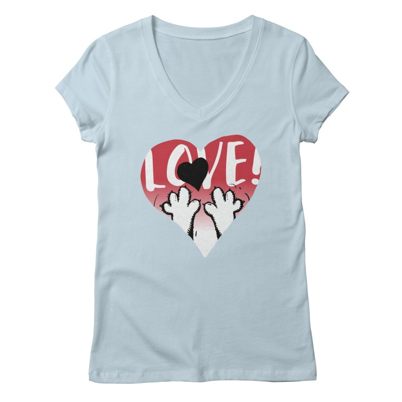 Love Tee Women's Regular V-Neck by Fuzzy Poet's Artist Shop
