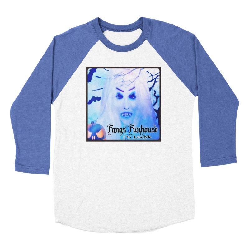 Fangs Funhouse in Women's Baseball Triblend Longsleeve T-Shirt Tri-Blue Sleeves by GETBIT by FanGlorious  Artist Shop