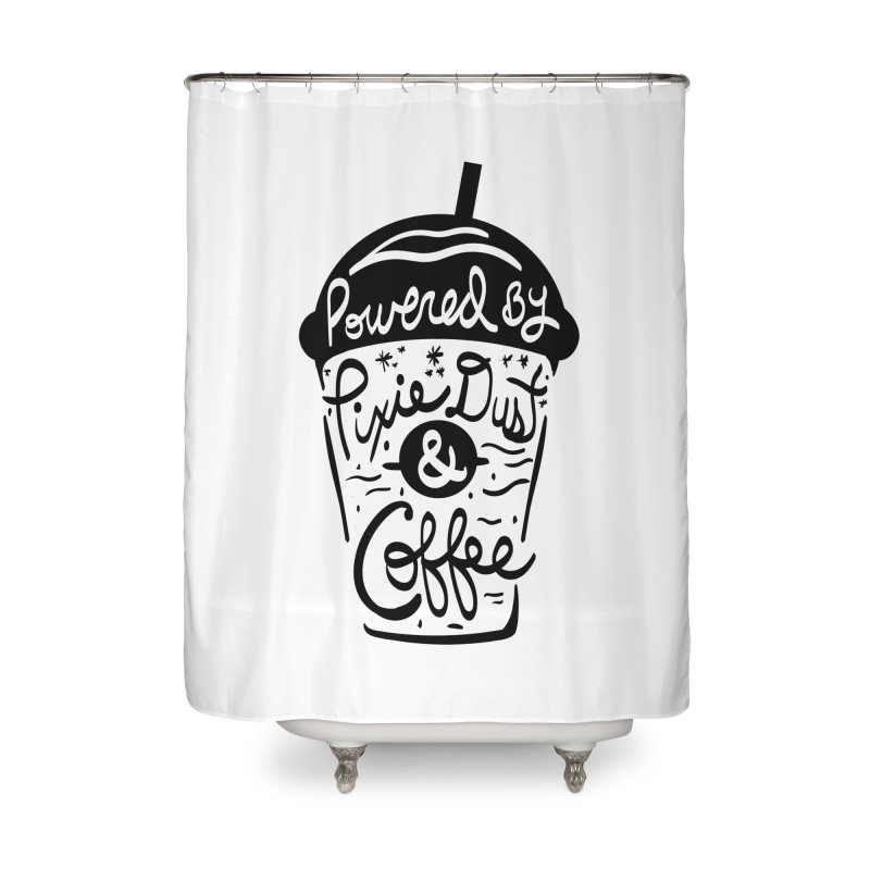 Powered By Home Shower Curtain by Greg Gosline Design Co.