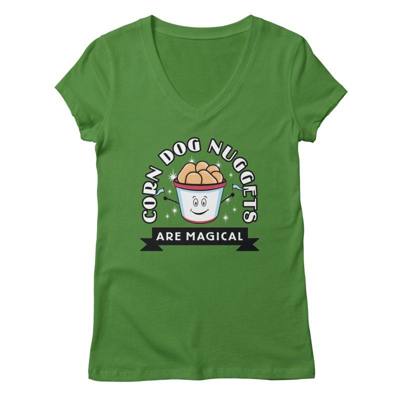 Corn Dog Nuggets Are Magical Women's V-Neck by Greg Gosline Design Co.