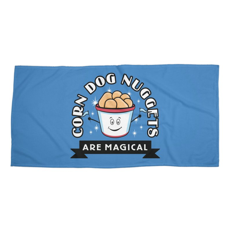 Corn Dog Nuggets Are Magical Accessories Beach Towel by Greg Gosline Design Co.