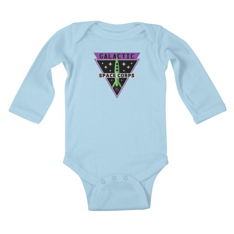 Galactic Space Corps Kids Baby Longsleeve Bodysuit by Greg Gosline Design Co.
