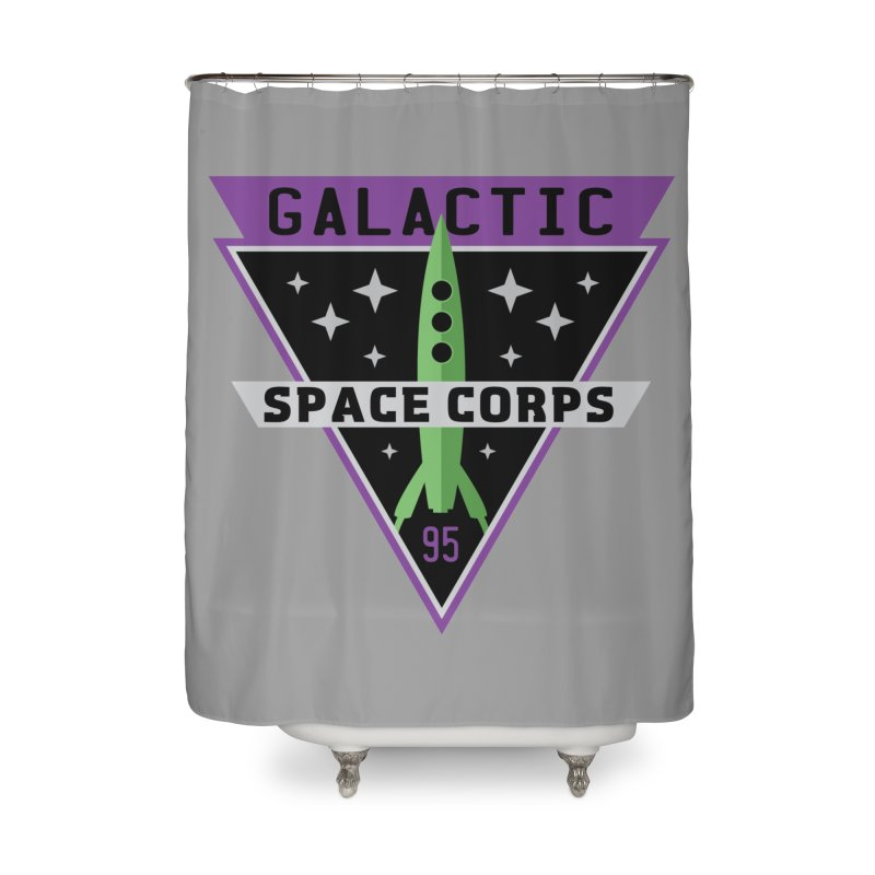 Galactic Space Corps Home Shower Curtain by Greg Gosline Design Co.