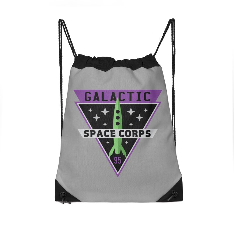 Galactic Space Corps Accessories Drawstring Bag Bag by Greg Gosline Design Co.