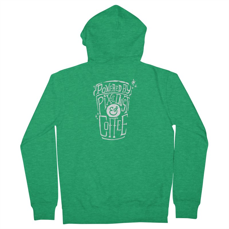 Powered By Pixie Dust & Coffee Men's French Terry Zip-Up Hoody by Greg Gosline Design Co.