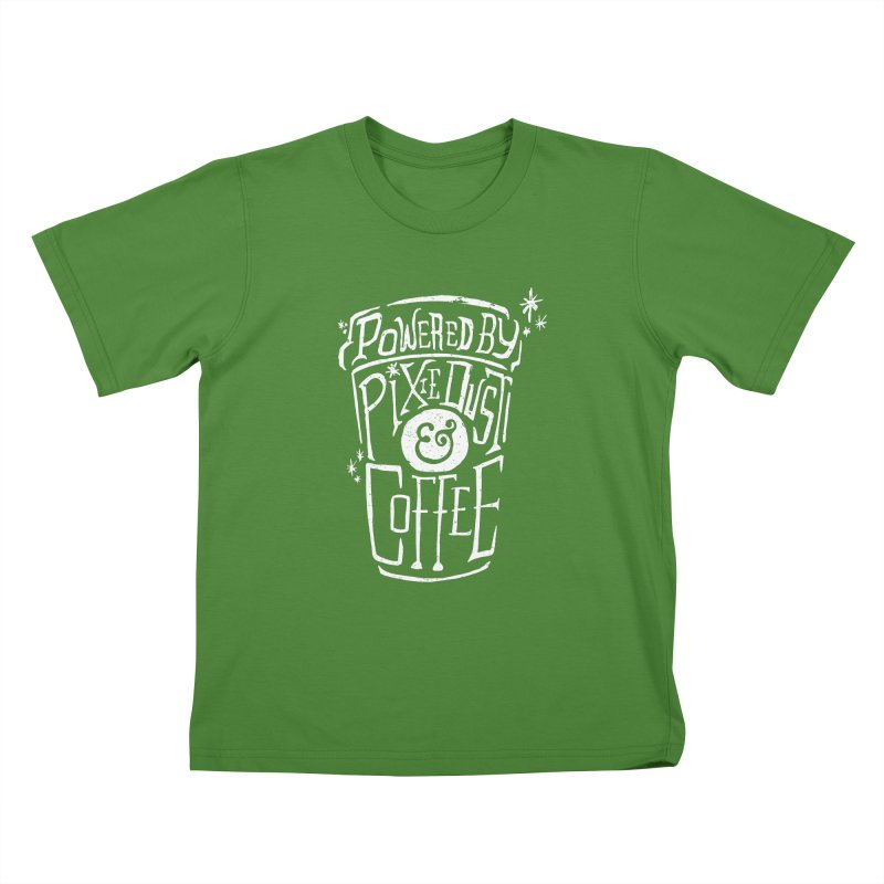 Powered By Pixie Dust & Coffee Kids T-Shirt by Greg Gosline Design Co.