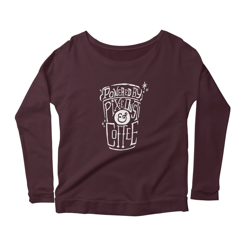 Powered By Pixie Dust & Coffee Women's Scoop Neck Longsleeve T-Shirt by Greg Gosline Design Co.
