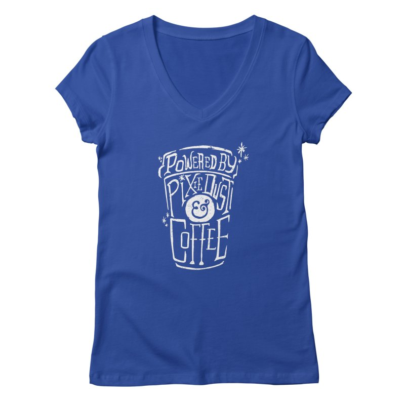 Powered By Pixie Dust & Coffee Women's V-Neck by Greg Gosline Design Co.