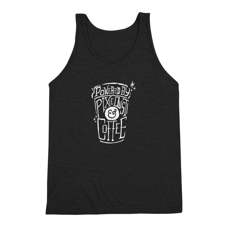 Powered By Pixie Dust & Coffee Men's Triblend Tank by Greg Gosline Design Co.
