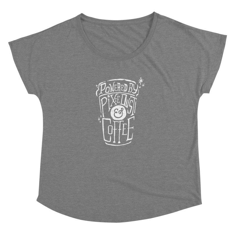 Powered By Pixie Dust & Coffee Women's Scoop Neck by Greg Gosline Design Co.