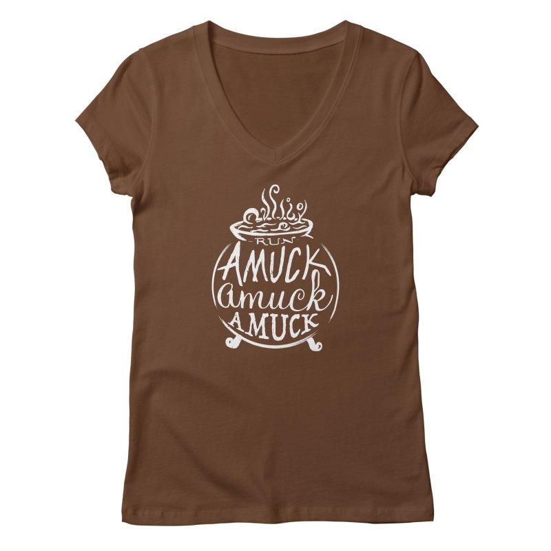 Amuck Women's Regular V-Neck by Greg Gosline Design Co.