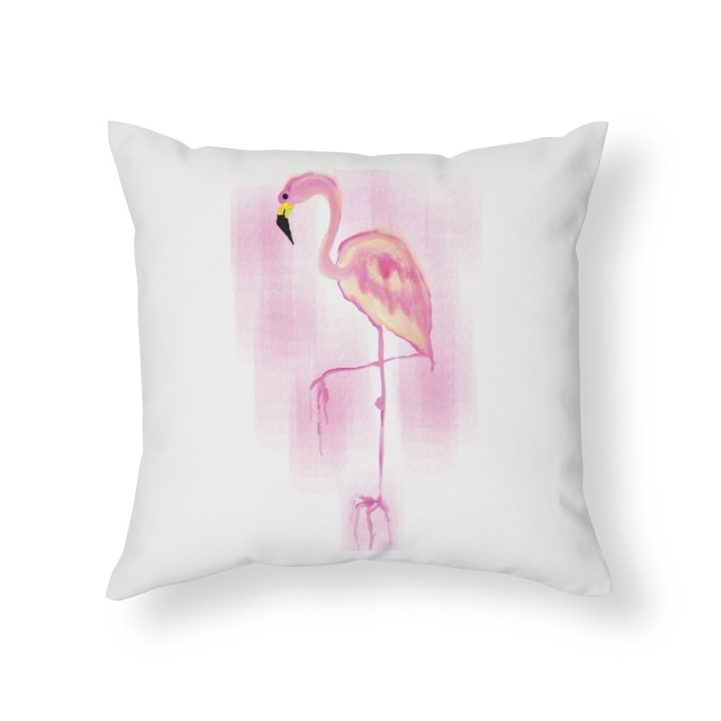 Flamingo Home Throw Pillow by GLANZ