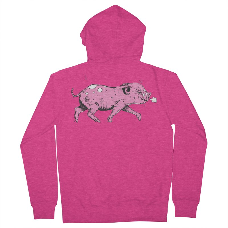 Hater Piggie Women's French Terry Zip-Up Hoody by Garrett Shane Bryant