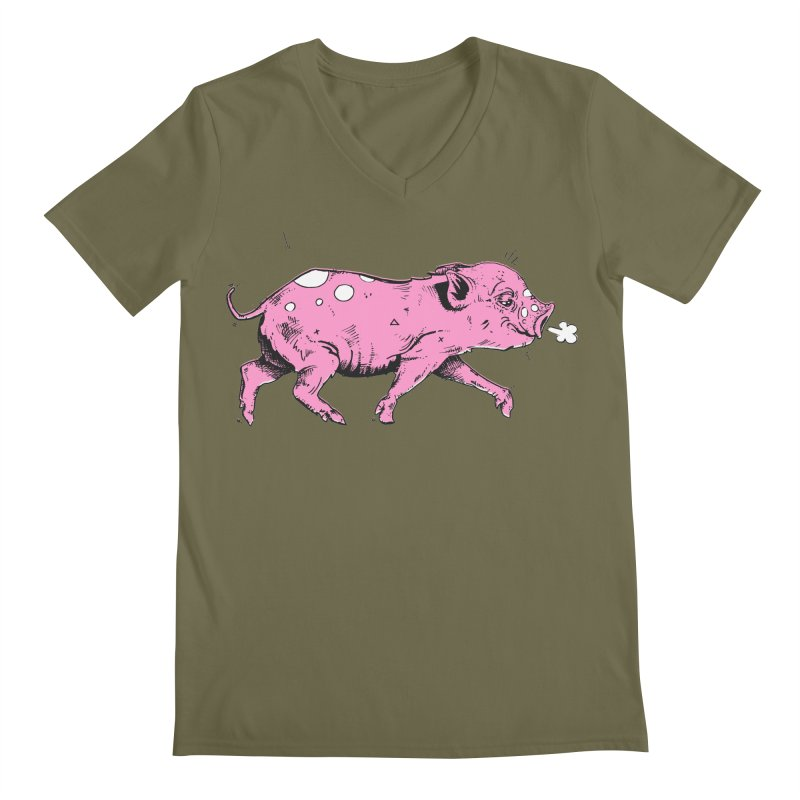 Hater Piggie Men's Regular V-Neck by Garrett Shane Bryant