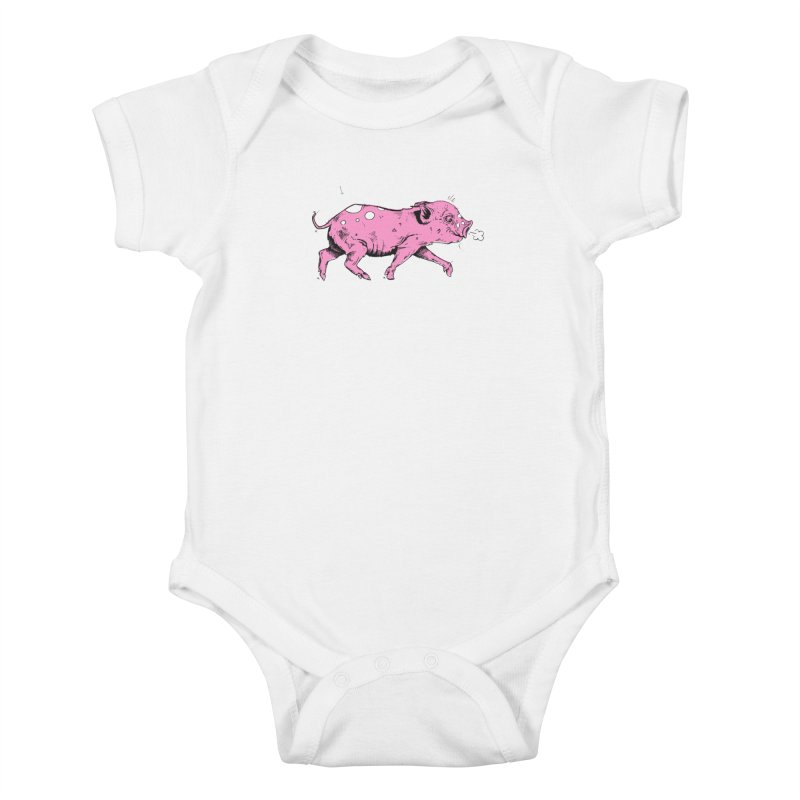 Hater Piggie Kids Baby Bodysuit by Garrett Shane Bryant