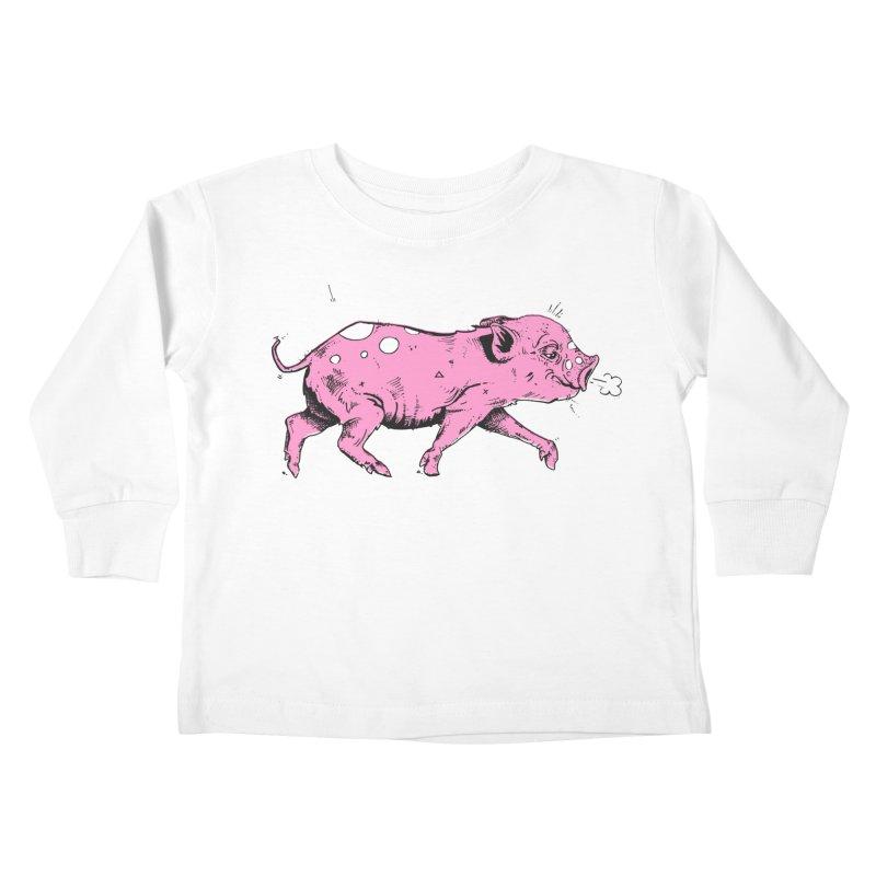 Hater Piggie Kids Toddler Longsleeve T-Shirt by Garrett Shane Bryant