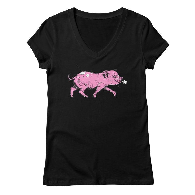 Hater Piggie Women's V-Neck by Garrett Shane Bryant