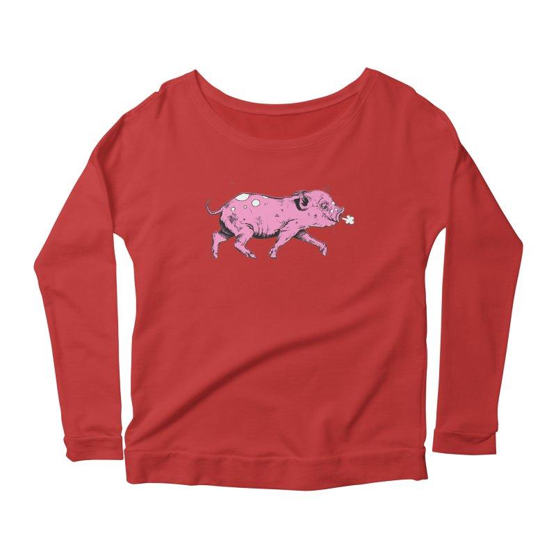 Hater Piggie Women's Longsleeve Scoopneck  by Garrett Shane Bryant