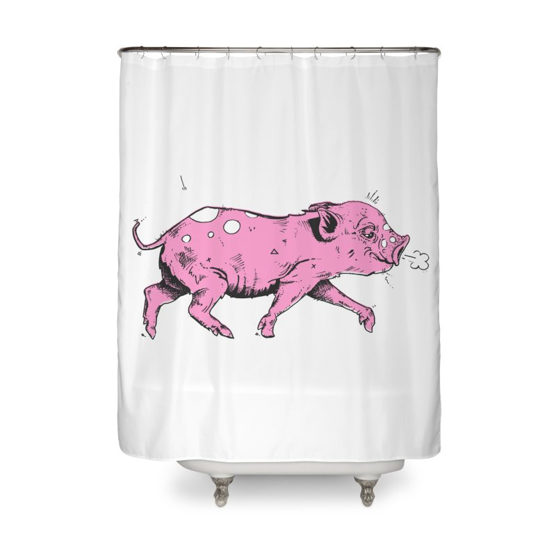 Hater Piggie Home Shower Curtain by Garrett Shane Bryant