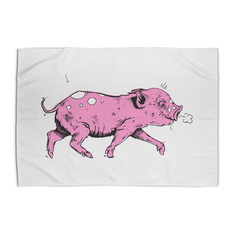 Hater Piggie Home Rug by Garrett Shane Bryant