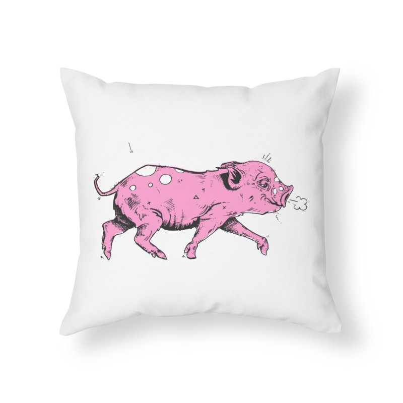 Hater Piggie Home Throw Pillow by Garrett Shane Bryant