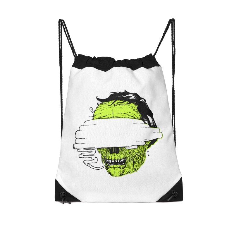 Speeeeeak Accessories Drawstring Bag Bag by Garrett Shane Bryant