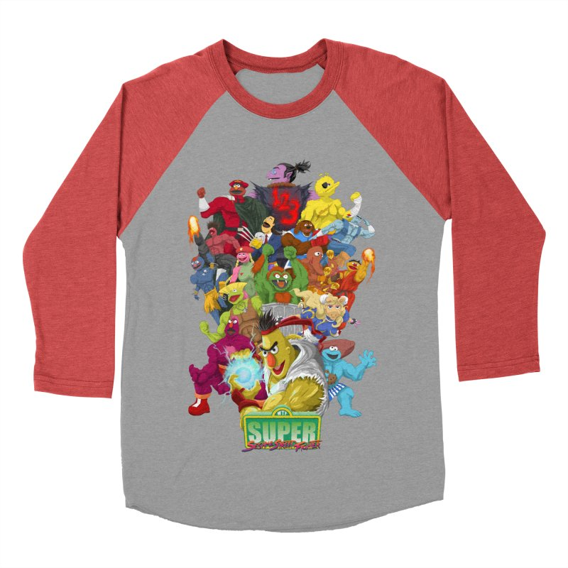 Super Sesame Street Fighter Men's Baseball Triblend T-Shirt by GabachoTrece's Artist Shop