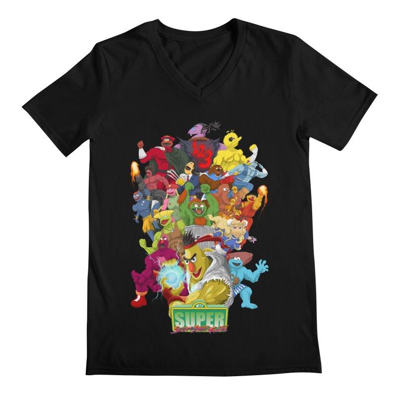 Super Sesame Street Fighter Men's V-Neck by GabachoTrece's Artist Shop