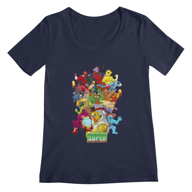 Super Sesame Street Fighter Women's Scoopneck by GabachoTrece's Artist Shop