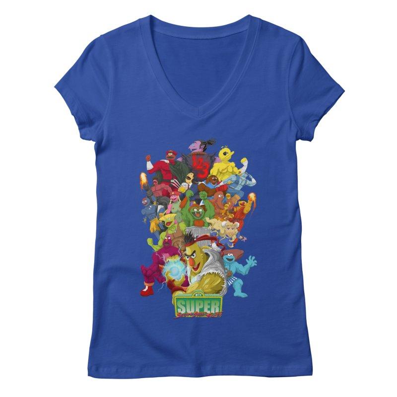 Super Sesame Street Fighter Women's V-Neck by GabachoTrece's Artist Shop
