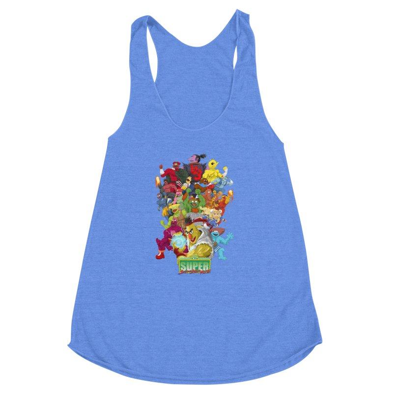 Super Sesame Street Fighter Women's Racerback Triblend Tank by GabachoTrece's Artist Shop