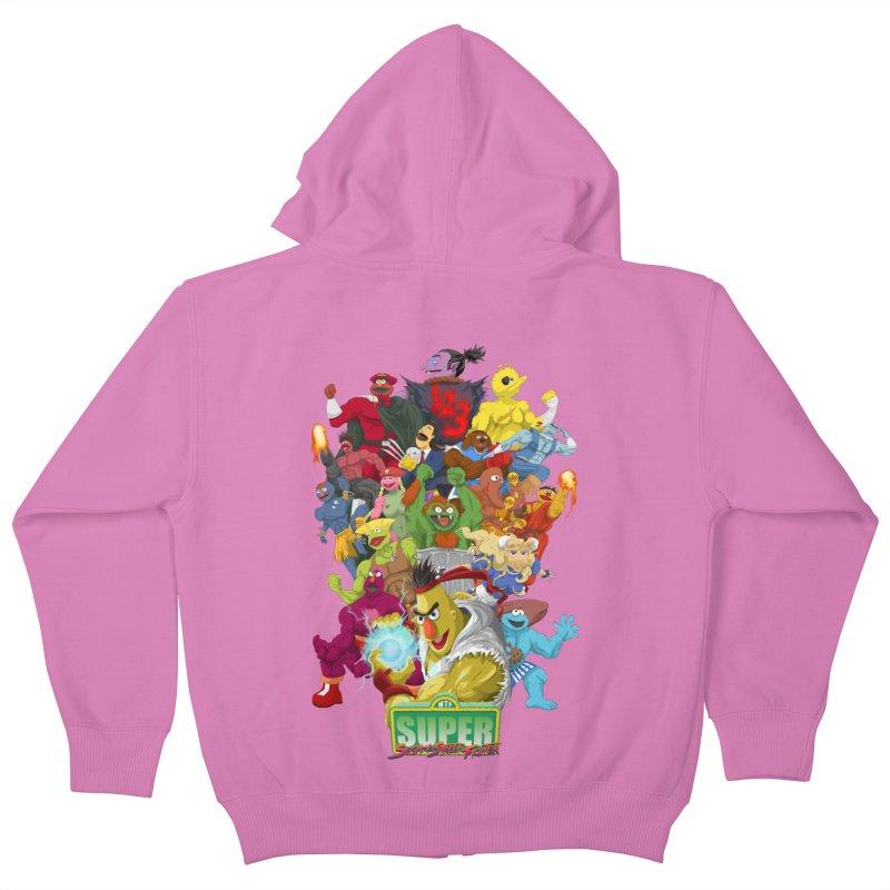 Super Sesame Street Fighter Kids Zip-Up Hoody by GabachoTrece's Artist Shop