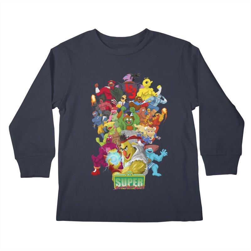 Super Sesame Street Fighter Kids Longsleeve T-Shirt by GabachoTrece's Artist Shop