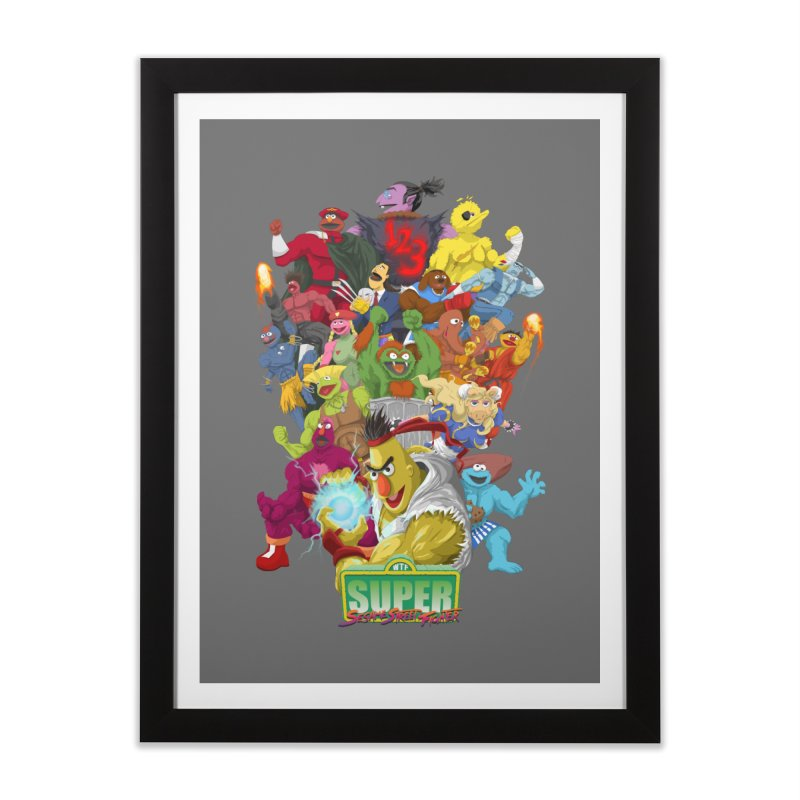 Super Sesame Street Fighter Home Framed Fine Art Print by GabachoTrece's Artist Shop