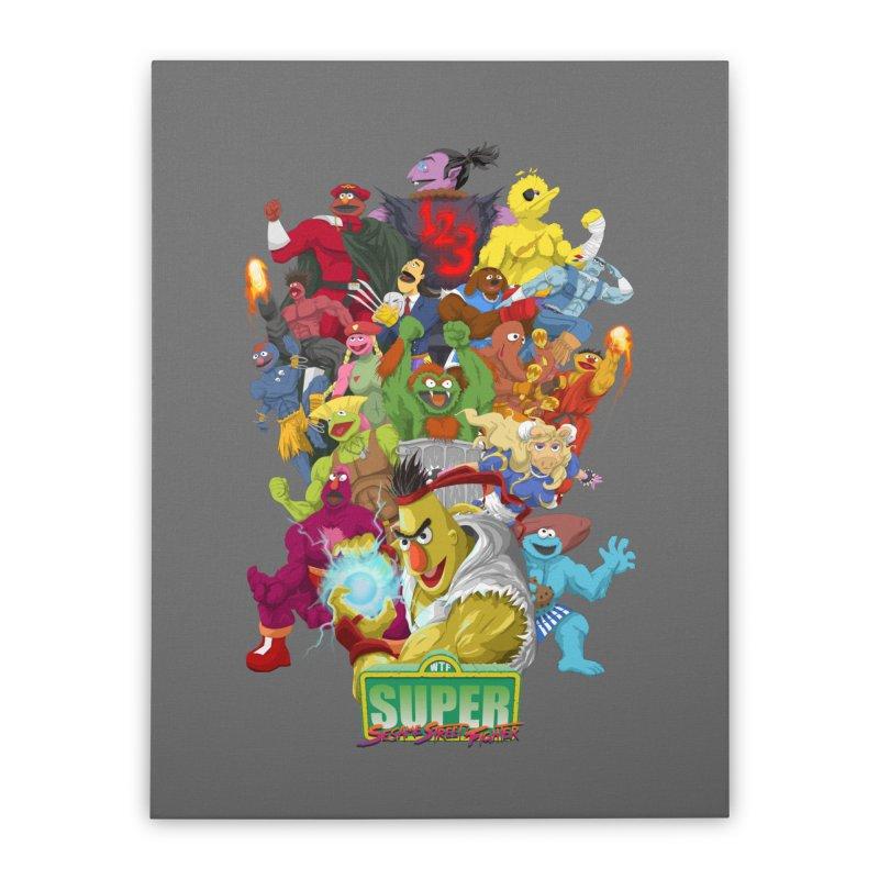 Super Sesame Street Fighter Home Stretched Canvas by GabachoTrece's Artist Shop