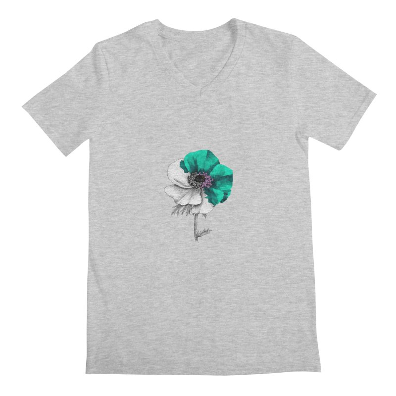Poppy - Half & Half Men's V-Neck by Amit's Artist Shop