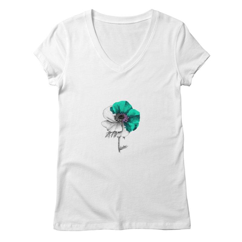 Poppy - Half & Half Women's V-Neck by Amit's Artist Shop