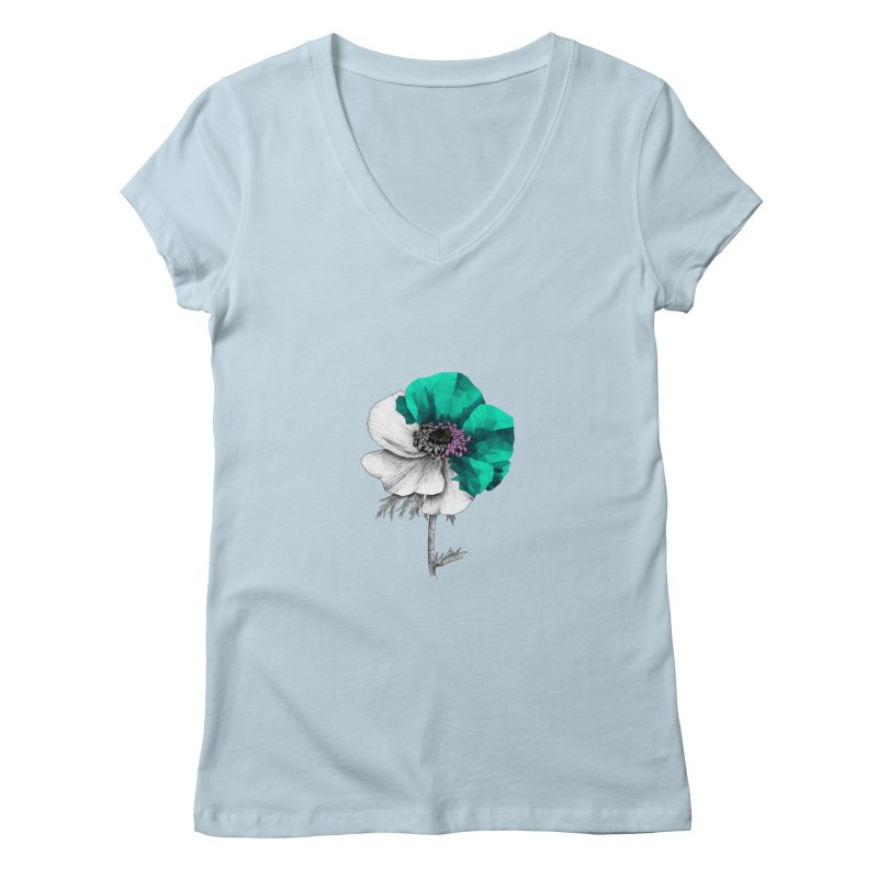 Poppy - Half & Half Women's V-Neck by Amit's Artist Shop