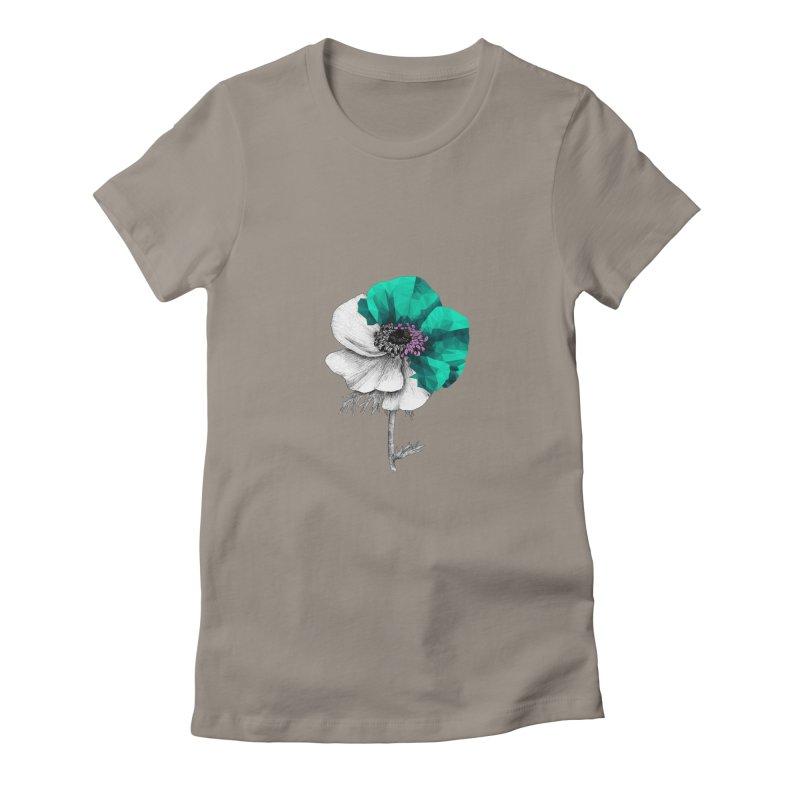 Poppy - Half & Half Women's Fitted T-Shirt by Amit's Artist Shop
