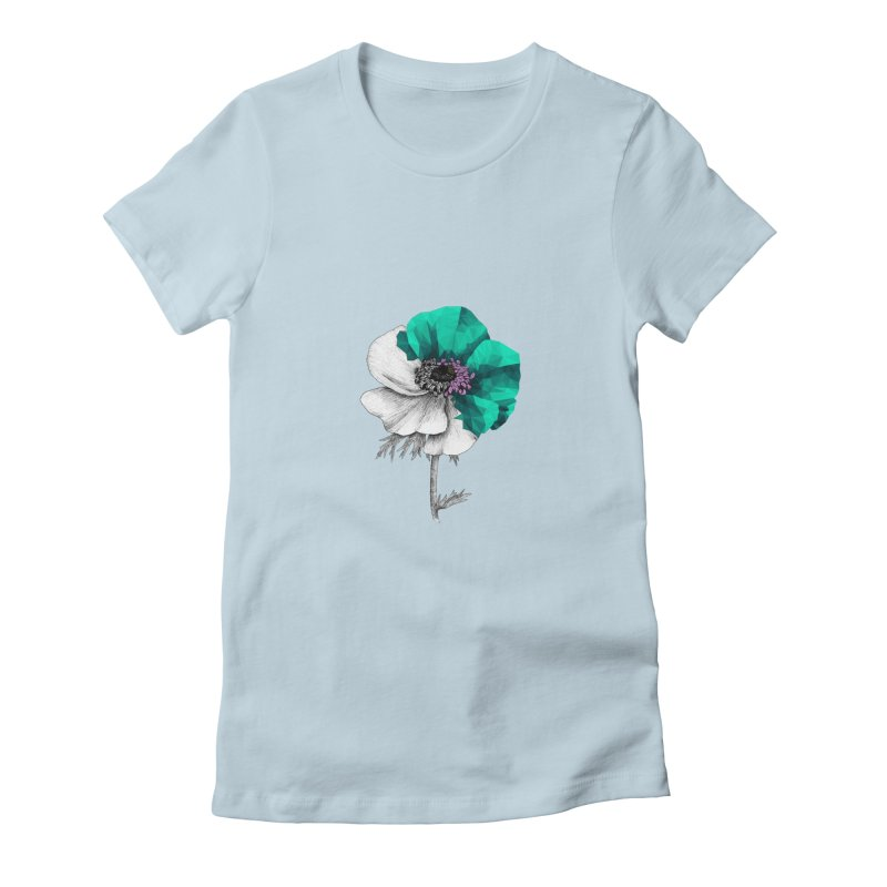 Poppy - Half & Half Women's Fitted T-Shirt by Amit's Artist Shop