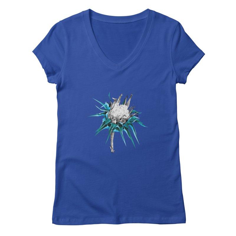 Centaurea - Half & Half Women's Regular V-Neck by Amit's Artist Shop