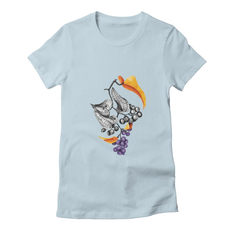 Rough Bindweed - Half & Half Women's Fitted T-Shirt by Amit's Artist Shop