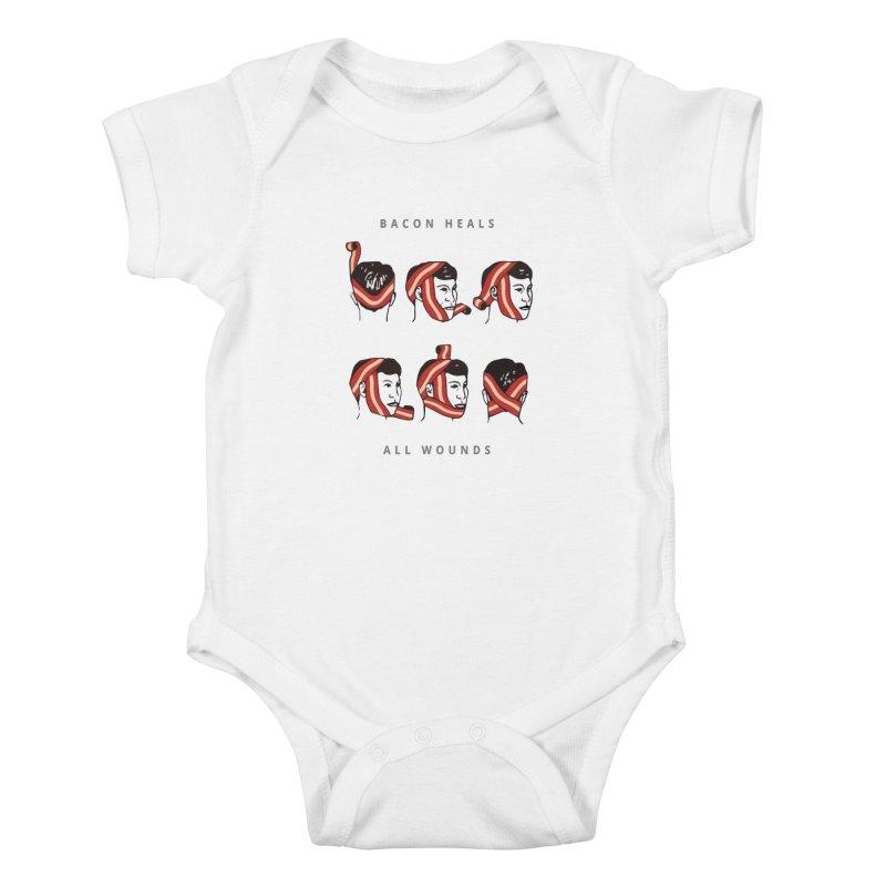 Bacon Heals Kids Baby Bodysuit by Gamble's Artist Shop