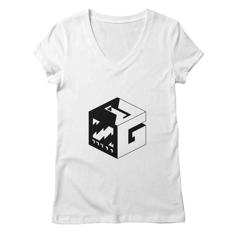 GOSU Cube (Black Logo) Women's V-Neck by GamersOfOSU's Artist Shop