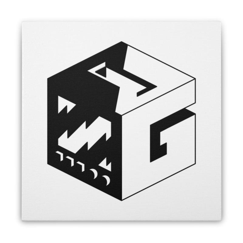 GOSU Cube (Black Logo) Home Stretched Canvas by GamersOfOSU's Artist Shop