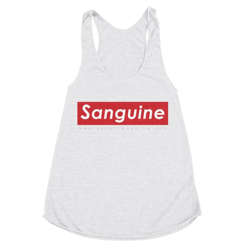 Sanguine: A brand for supreme hipster vamps Women's Racerback Triblend Tank by GehennaGaming's Artist Shop