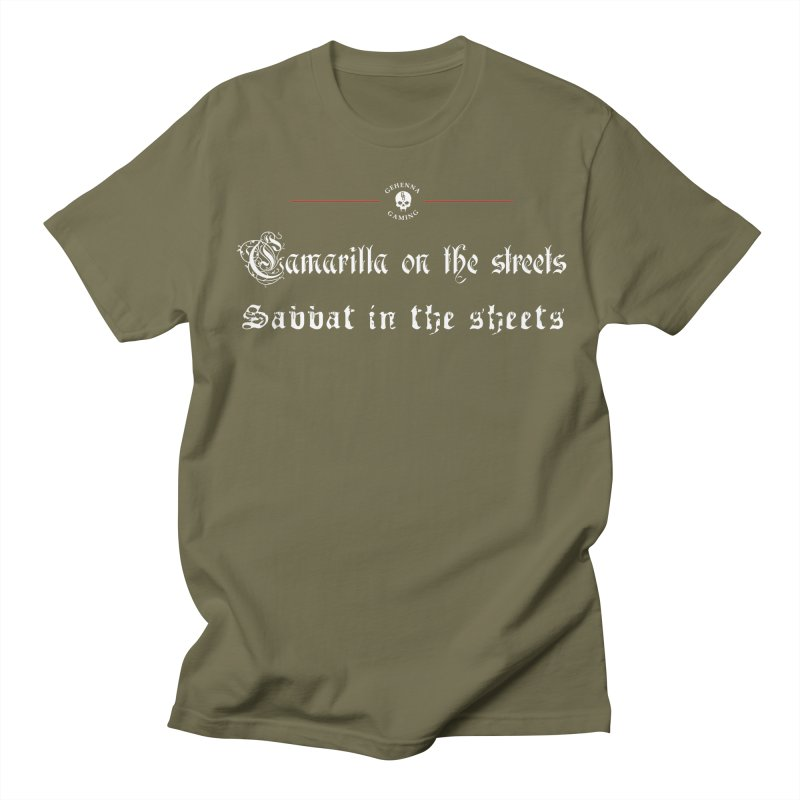 Camarilla on the streets, Sabbat in the sheets Men's Regular T-Shirt by GehennaGaming's Artist Shop