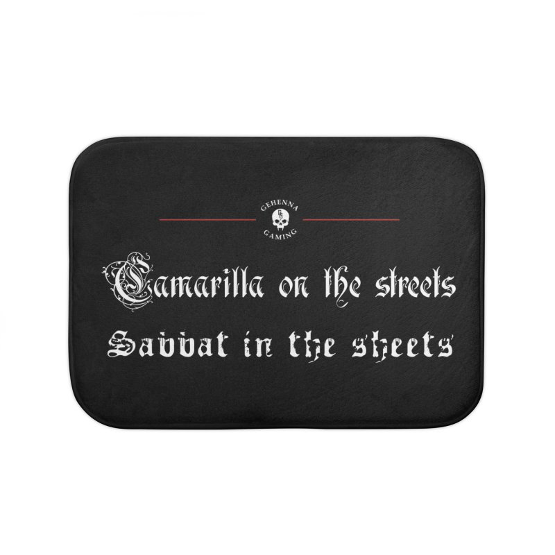 Camarilla on the streets, Sabbat in the sheets Home Bath Mat by The Gehenna Gaming Shop