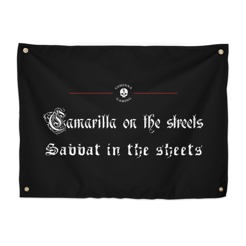 Camarilla on the streets, Sabbat in the sheets Home Tapestry by The Gehenna Gaming Shop